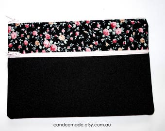 Beautiful Floral and black Pencil case/ Makeup Bag 21cm x 14.5cm With Two Pockets and  light pink Zippers,