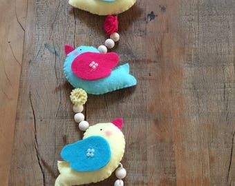 Felt birds - set of 5 pieces