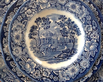 """Staffordshire 5-7/8"""" LIBERTY BLUE Bread and Butter Plate - Monticello - Blue and White Transferware (6 Available)"""