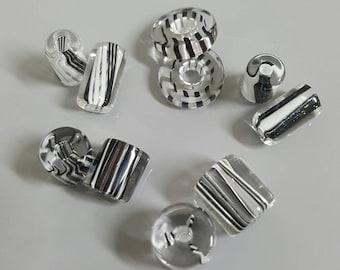 David Christensen Designer Furnace Glass Black and White Beads, 5 x Matched Pairs