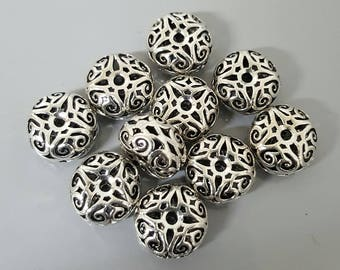 Antique/Vintage Thai 14mm x 8mm Sterling Silver Beads