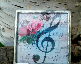 NEW-Magnet-Decorative-G Clef-Music-Music Notes-Flowers-Roses-Gift-One of a Kind-OOAK-Kitchen-Home-Office-Unique-Soldered-Handcrafted