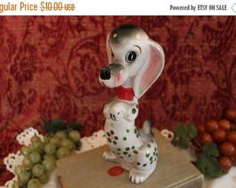 Summer Sun Sale Vintage Lipper & Mann Ceramic Dog with Hand Painted Flowers - Figurine, Japan