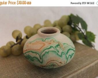 Summer Sun Sale Beautiful Nemadji Pottery Small Squat Vase with Green and Terra Cotta Swirls