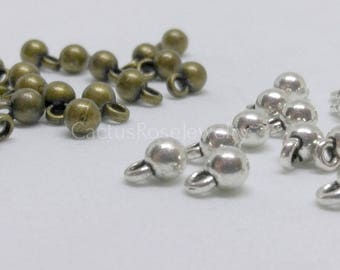4x6.5mm Ball Charm Antique Brass or Silver Tone