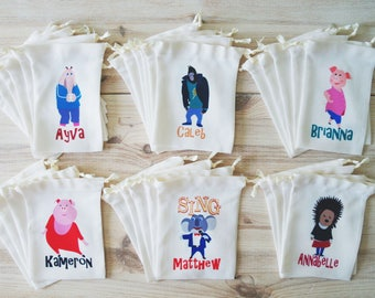 Sing Movie Favor Bags Sing Party Favors Personalized Party Gift Bags Loot Bags Goodie Bags Drawstring Pouch Birthday Party Favors