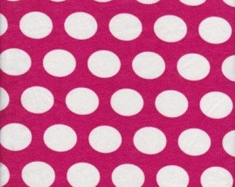 NEW! Fuchsia pink with white polka dots Cotton lycra knit fabric bty