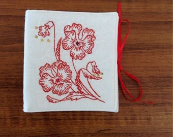 Needle holder, needle case, retreat gift, gift, sewing, RED FLOWERS