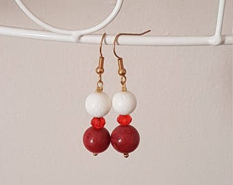 Red and white coral drop earrings
