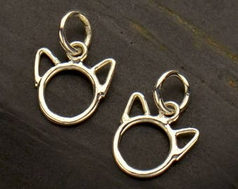Sterling Silver Cat Charm. Cat Head Charm. Cat Head Outline. Cat Ears Charm.