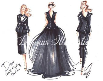 Fashion illustration, Woman illustration, Woman wall art, Girl illustration, Vintage inspired, Little black dress, Woman in black, Art print