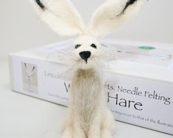 ON SALE Winter Hare felting kit/Mother's Day craft gift/Felt starter kit