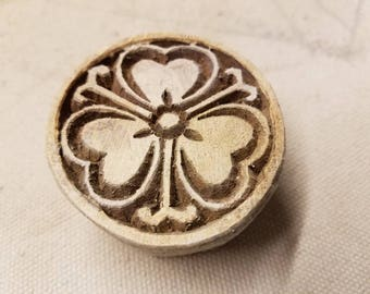 Wood block stamp for clay, pottery. Hand carved flower stamp. Hibiscus.