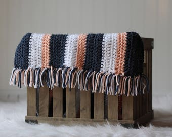 Crochet baby photography mini blanket striped basket stuffer navy peach fringe newborn girl photo prop