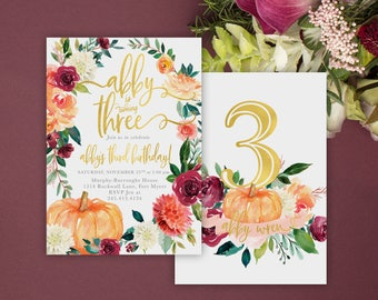 Fall Birthday Invitation, Any Age Girl Pumpkin Birthday Invitation: Autumn Fall Florals, Burgundy, Blush - Invite - Printed Printable, 7
