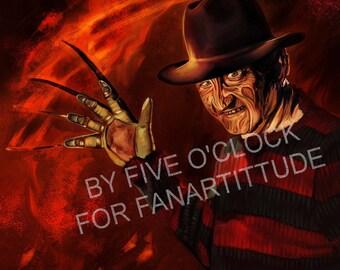 poster fan art FREDDY KRUEGER robert englund a nightmare on elm street horror fantasy geek