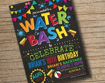 PRINTABLE Water Gun Party Invitation Pool Birthday Invitations Backyard