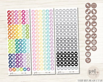 MINI Pet/Animal Icon Stickers - Mini Reminder Circles - RC02