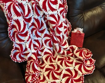 Peppermint Throw - due to high demand -I'm sold out for Christmas but you can msg to go on waiting list