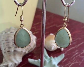 Gold aventurine drop earrings