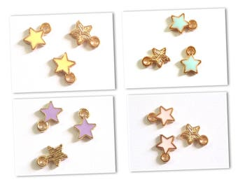 2 9x7mm gold metal and enamel star charms