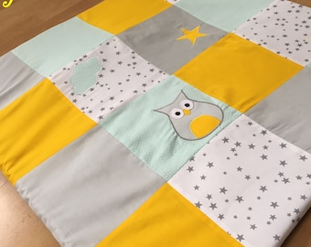 Mat of Park, awakening, game patchwork yellow, white, grey, green with OWL