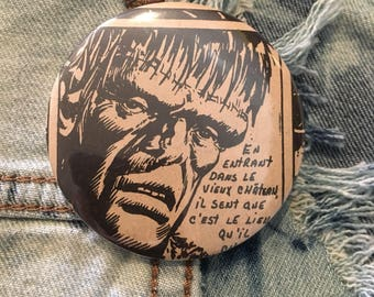 "FRANKENSTEIN button, vintage monster, vintage horror comic, 2.25"" pin back button"