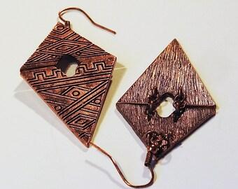 Copper Boho Style Earrings Dangle Vintage Jewelry