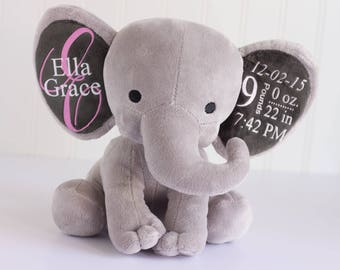 Baby toddler toys etsy personalized baby gift birth stat elephant birth stat gift stuffed elephant baby negle Images