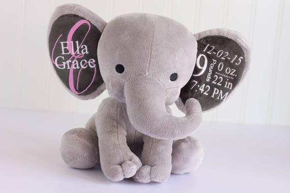 Personalized baby gift birth stat elephant birth stat gift like this item negle Gallery