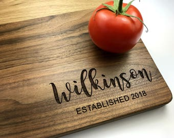 Engraved Cutting Board Tree, Custom Wedding Gift, Just Married, Personalized Anniversary Gift, Housewarming Gift, Bridal Shower Gift Kitchen