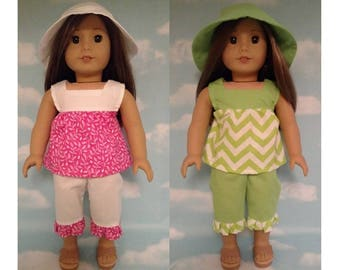 18 inch Girl Doll Clothing, handmade to fit like American Girl Doll clothes (Capri Set Top Pants Hat) cs-655ab