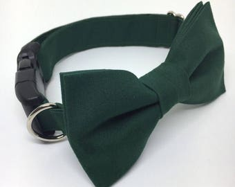 Hunter Green Dog Bow Tie