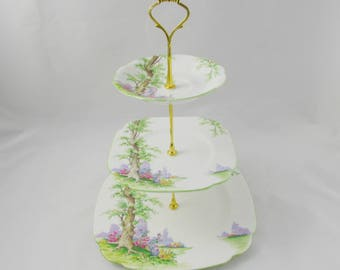 Three Tier Cake Stand Made from Royal Albert Greenwood Tree Plates, Vintage Bone China