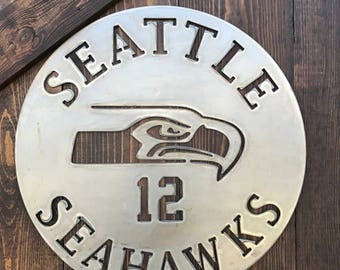 Sport team signs, Seahawks, Seattle, Football signs, Boys room, Office decor, Man-cave, Game room, Metal Signs, NFL decor, Football decor