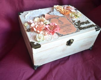 Mixed media jewellery box or memory box, hand crafted
