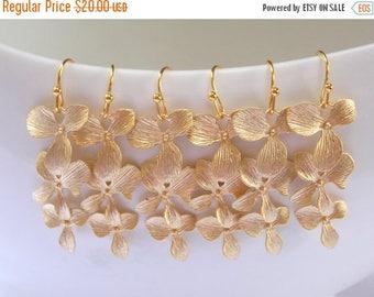 SALE Bridesmaids Jewelry, Wedding Jewelry, Orchid Flower, Gold Earrings, Bridesmaids Earrings, Bridesmaids Gifts, Dangle, Long, Wedding Gift