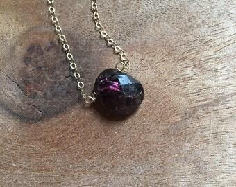 Garnet Necklace - Garnet Jewelry - Raw Garnet Gemstone Necklace - Garnet - 14k Gold Necklace - January Birthstone