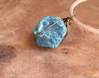 Apatite Necklace - Raw Stone Necklace -Blue Apatite Necklace - Raw Blue Apatite - Crystal Necklace