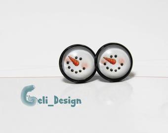 Cabochon earrings snowman winter