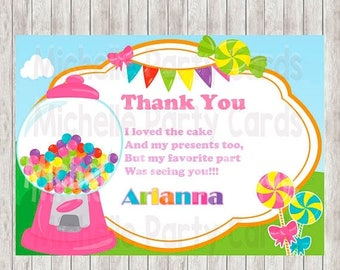 50% Off Candyland Thank You Card, Candyland party, color full rainbow, Birthday girl sweet, Candyland Party, Candyland Birthday, Printable