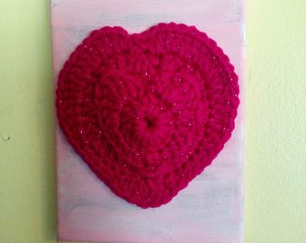 PINK HEART Crochet Painting