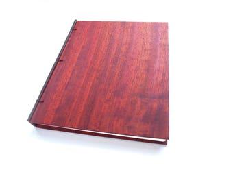 8x10 Padauk Journal Wooden Notebook Wooden Wedding Guestbook Wood Journal Engraved Notebook Wooden Sketchbook Custom Journal Travel Notebook