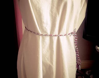 Viking Saxon embroidered pure linen hangerok for re enactment reenactment and larp