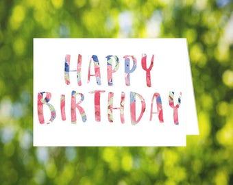 Pastel Happy Birthday Card: Printable Happy Birthday Card - Birthday - Watercolor - Birthday Card Her - Download Birthday Card - Handmade