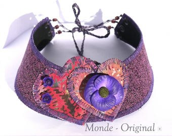 Necklace round neck hearts purple poppy fabric textile Japanese leather