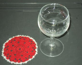 6 DOILIES or coasters handmade crochet red cotton