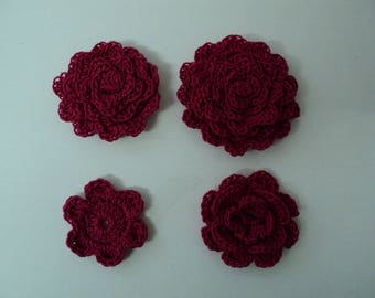 SET of 8 crochet flowers (2 x 4) for SCRAPBOOKING cotton Red