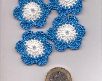 SET of 10 SCRAPBOOKING cotton blue and white CROCHET flowers
