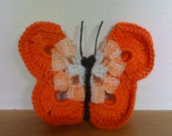 Set 3 butterflies hand crochet cotton Orange / Bronze